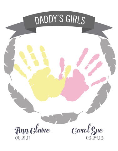 Canvas or Print, Daddy's Girls, Daddy's Heart - Custom, Add your child's name and dad's favorite color!