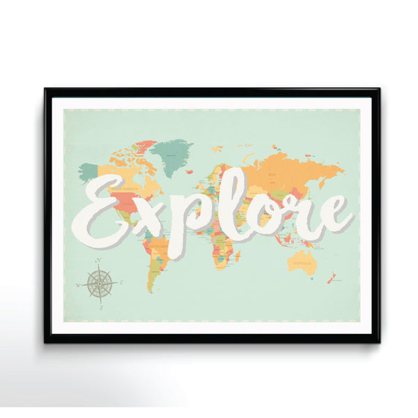 Explore Map in Canvas, Inspirational Art