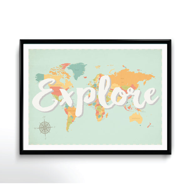 Explore Map Available in Different Sizes, Inspirational Art