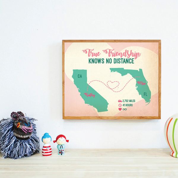 Long Distance Relationship, True Love Knows No Distance, Personalized Map, Gift Print