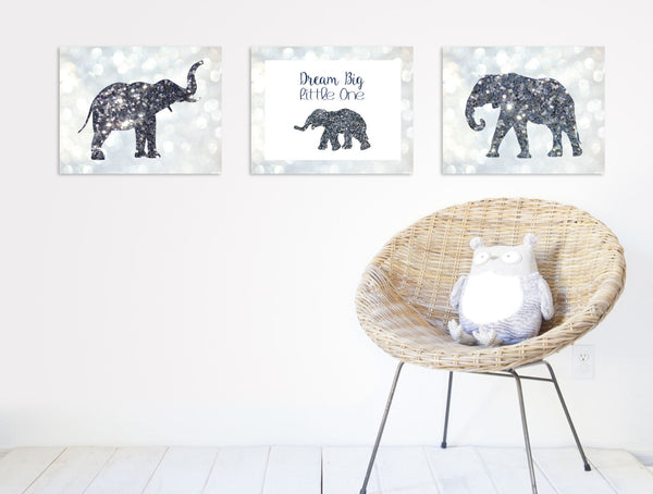 Print or Canvas, Dream Big Little One, Glitter Elephant, Glamour - Baby Girl Nursery, Wall Art Decor