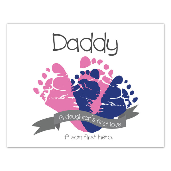 Canvas or Print, A daughter's first love, a son's first hero, Father's Day - Custom, Add your child's name and dad's favorite color!