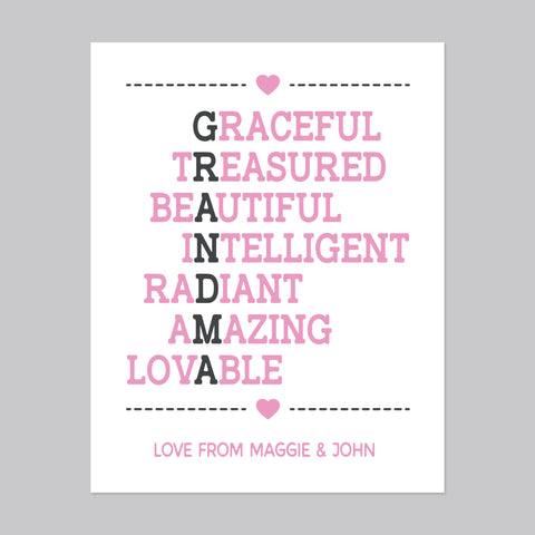 Acrostic Poem For Grandma, Personalize it!