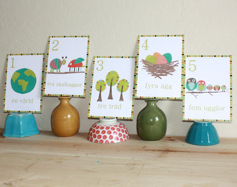 Multi Language Number Wall Cards Swedish