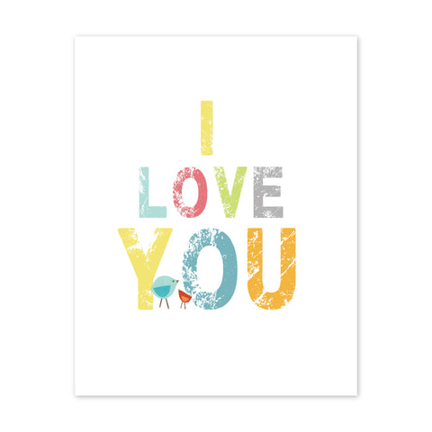 Kid's Wall Art I LOVE YOU for Boys, Girls or Baby's Room, Nursery Decor