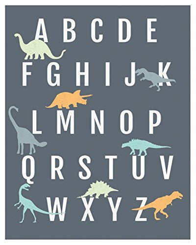 Dinosaur Alphabet Wall Art Print, Nursery Decor, ABC Poster