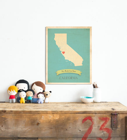 My Roots California Map Wall Art Print