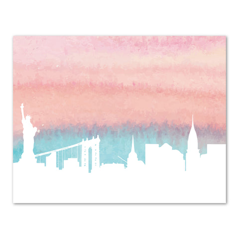 Canvas or Print, New York City Skyline - Pink