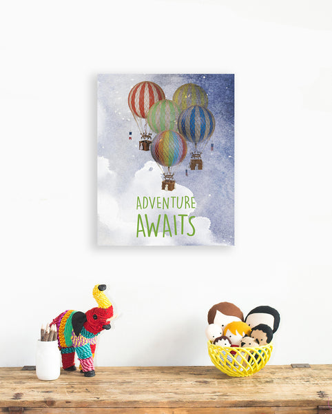 Adventure Awaits Print in 11x14, Nursery decor, Gender Neutral, Playroom, Children's room,