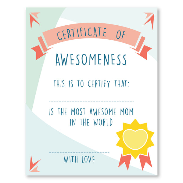 Mother's Certificate of Awesomeness, Mother's Day Gift ...
