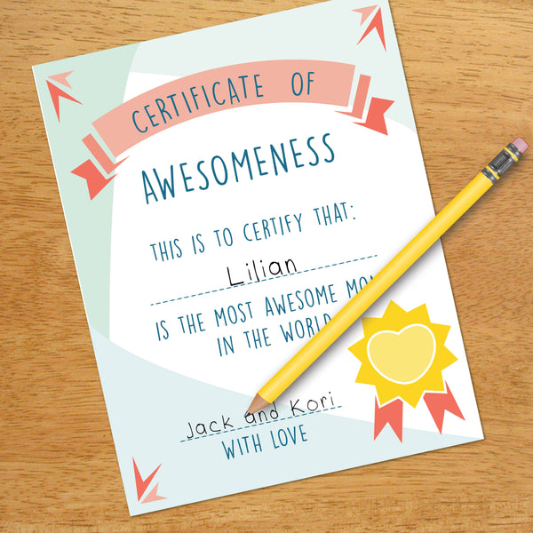 Mother's Certificate of Awesomeness, Mother's Day Gift