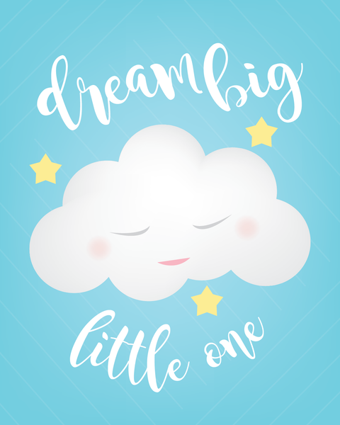 Best Print or Canvas, Dream Big Little One in Blue Print Available in  QS73