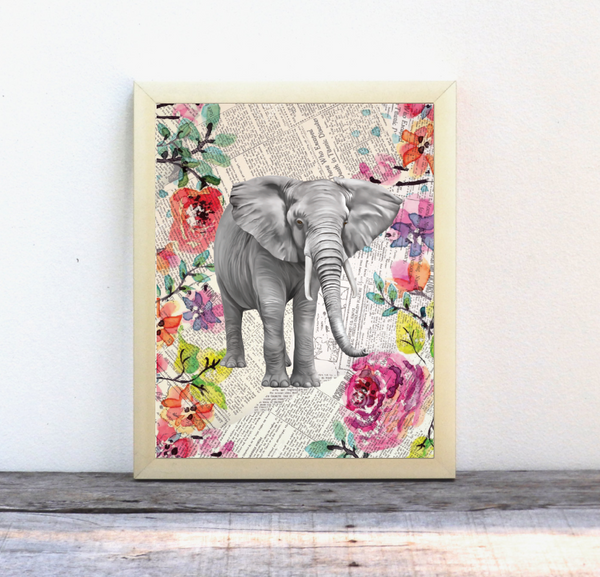 Elephant Newspaper Watercolor Print, Gender Neutral, Wall Print