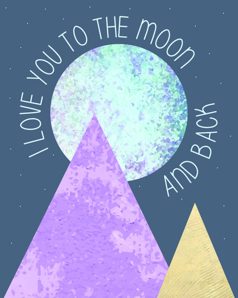 Print or Canvas, Love You To The Moon - Pyramids