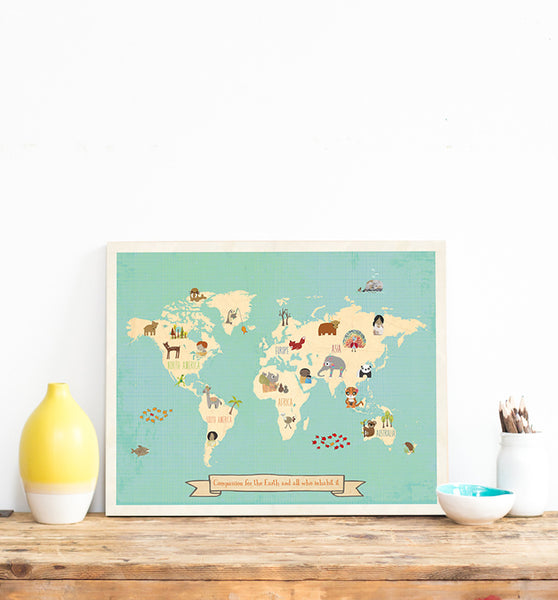 Global Compassion Wall Art Map for Kids