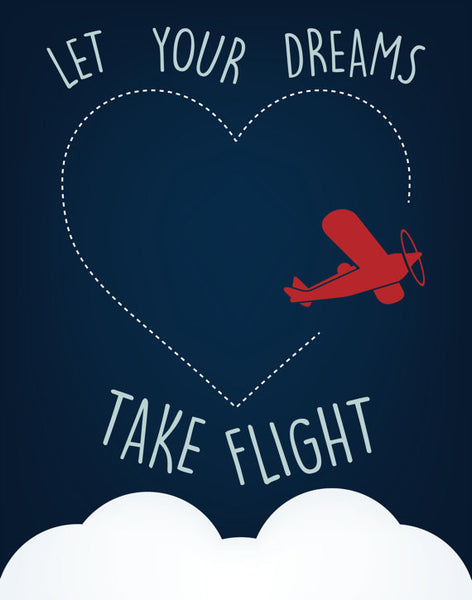 Let Your Dreams Take Flight Print, Baby Boy Nursery Art, Wall Art, Playroom Decor, Baby Boy Art
