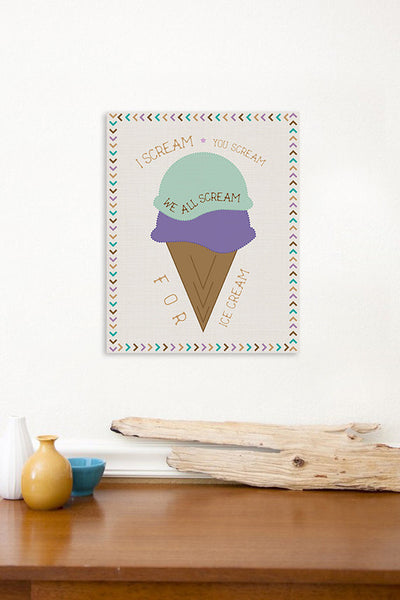 We All Scream For Ice Cream Print or Canvas, Baby Nursery Decor, Playroom, Nursery Wall Art