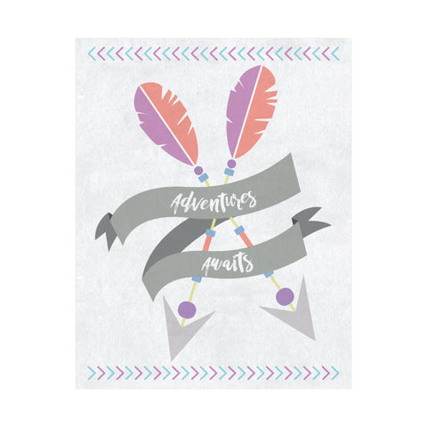 Adventures Awaits Woodland Boho Print, Gender Neutral Nursery, Travel Nursery Decor