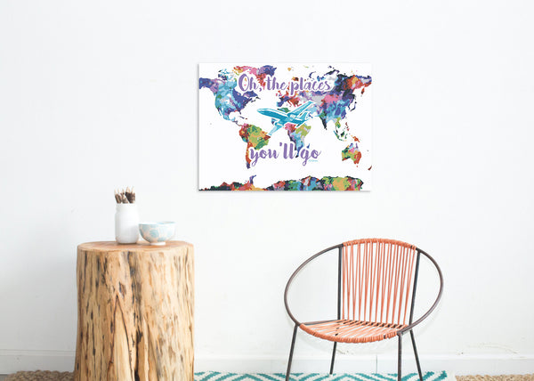 Oh The Places You'll Go Map Watercolor, Print or Canvas