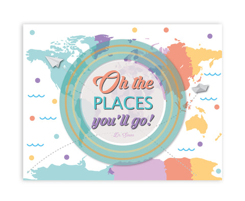 Oh The Places You'll Go Map Circle, Print or Canvas