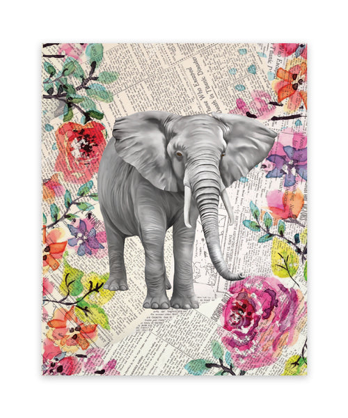 Print or Canvas, Elephant Newspaper Watercolor Print