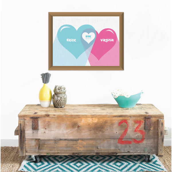 Canvas or Print, Family Heart - Custom, Add your family members names and their favorite color!