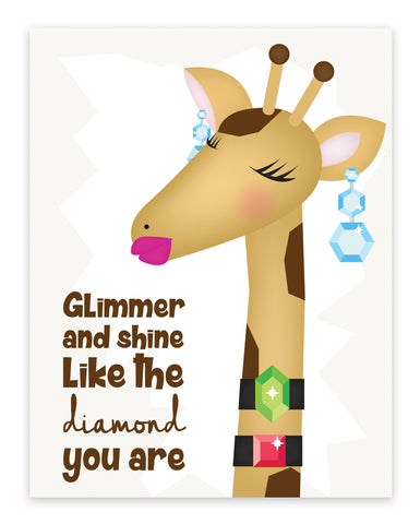 Print or Canvas, Glimmer And Shine - Giraffe