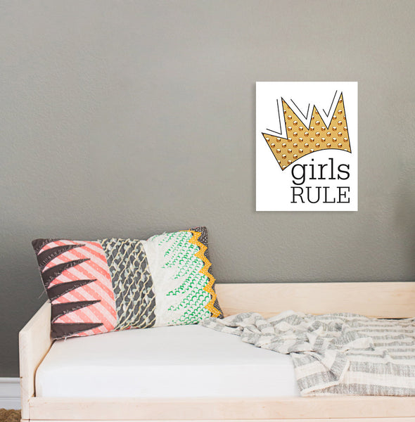 Print or Canvas, Girls Rule - Crown