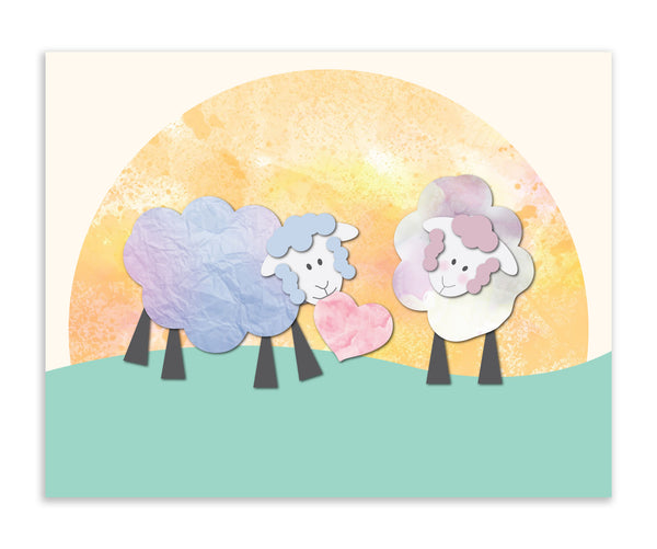 Loving Sheep Sharing Heart, Canvas or Print, Baby Nursery Decor, Playroom, Nursery Wall Art