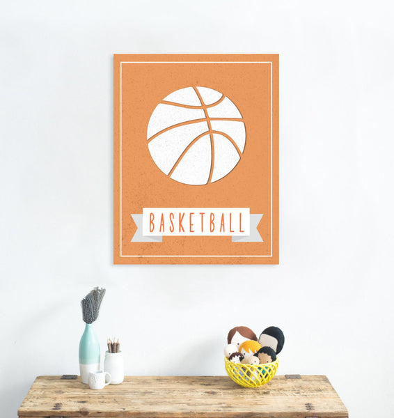 Print or Canvas, Sport Balls: Basketball, Pick Your Own Color!