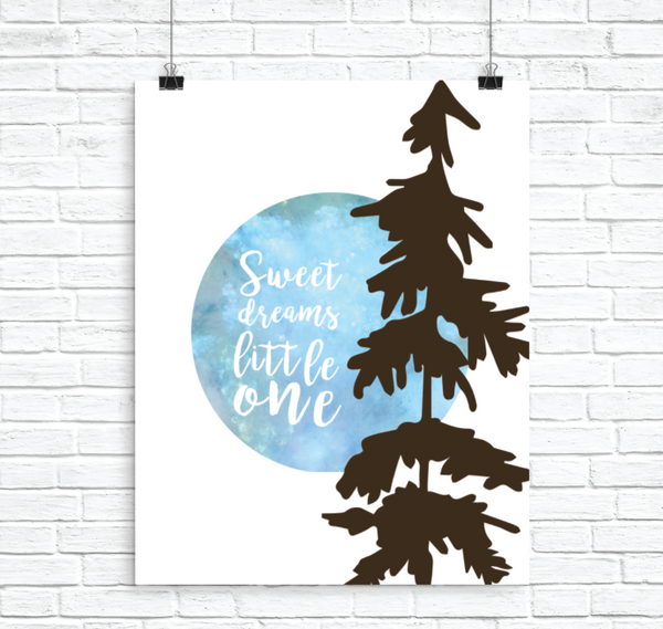 Sweet Dreams Little One, Print or Canvas, Nursery Decor, Gender Neutral,