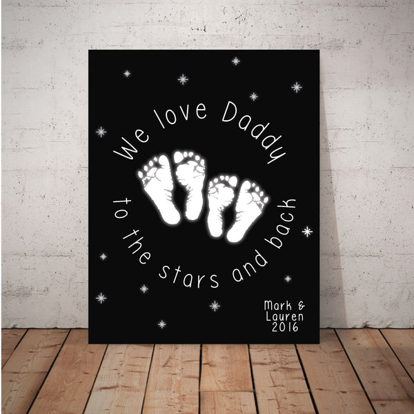 Canvas or Print, We love you to the moon and back, Custom, Add your child's name and dad's favorite color!