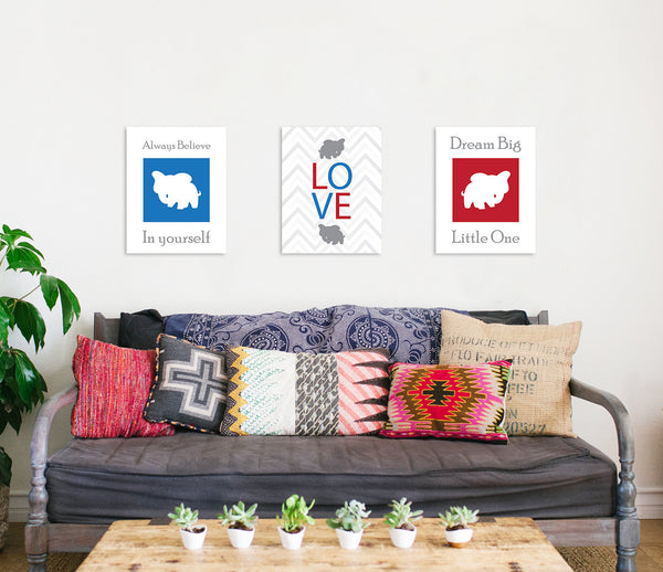 Print or Canvas, Dream Big Little One Elephant Silhouette Set of 3