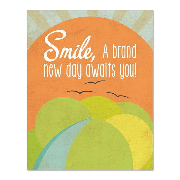 Smile, A Brand New Day Awaits You Print, Motivational Prints, Smile Quotes, Smile Wall Decor, Happy quotes