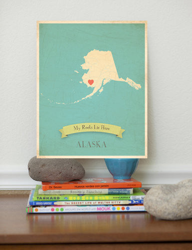 My Roots Alaska Map Wall Art Print