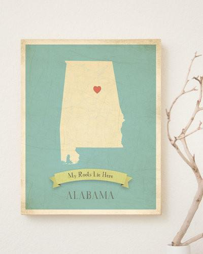My Roots Alabama Map Wall Art Print
