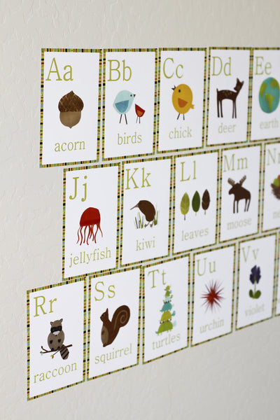Nature alphabet wall cards for kids children inspire design for Party wall act letter to neighbour
