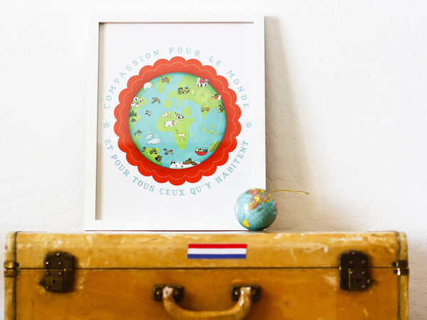 Compassion for the Earth 11x14 Wall Art, Print or Canvas, Gender Neutral, Nursery, Playroom, Global Child