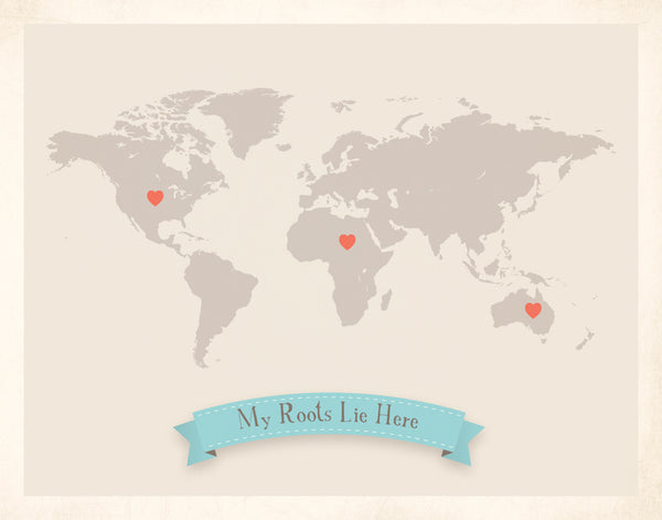 My Roots Customizable World Map, Canvas or Print, Travel, Inspirational