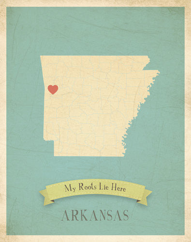 My Roots Arkansas Map Wall Art Print