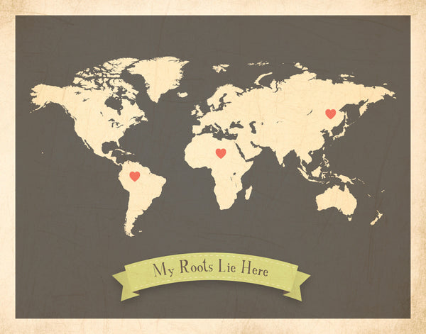 My roots childrens customizable world wall map children inspire my roots customizable world map canvas or print travel inspirational gumiabroncs Image collections