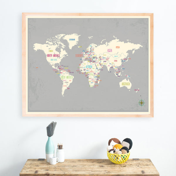 World Map Gray with Capitals, Canvas or Print, Educational Wall Art