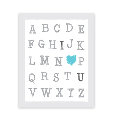 Canvas or Print, ABC's I Love You, Blue