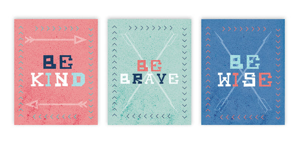 Print or Canvas, Collection Be Brave Arrows, Set Of 3