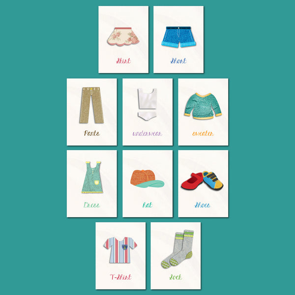 Mini Collection Clothes Flash Cards 5x7 Print - Set of 10