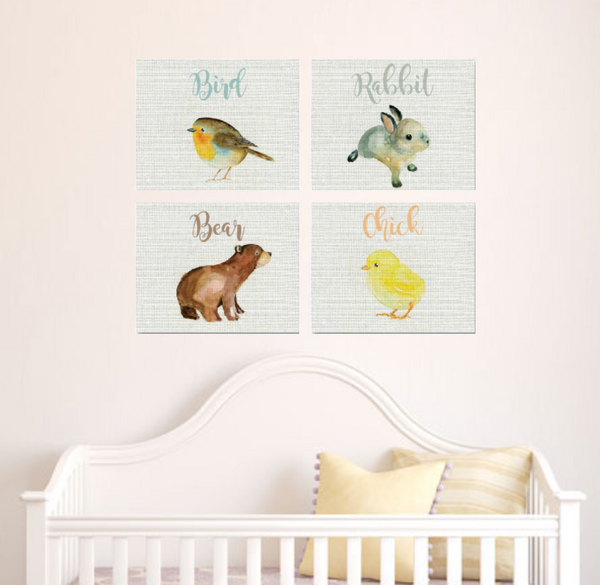 Canvas or Print, Baby Animals Collection Set of 4