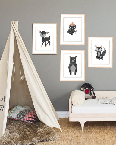 Boho Woodland Animal Collection - Set of Four 8x10 Prints