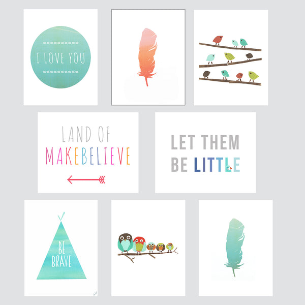 Boho Mini Collection - Set of Eight 5 x 7 Wall Cards
