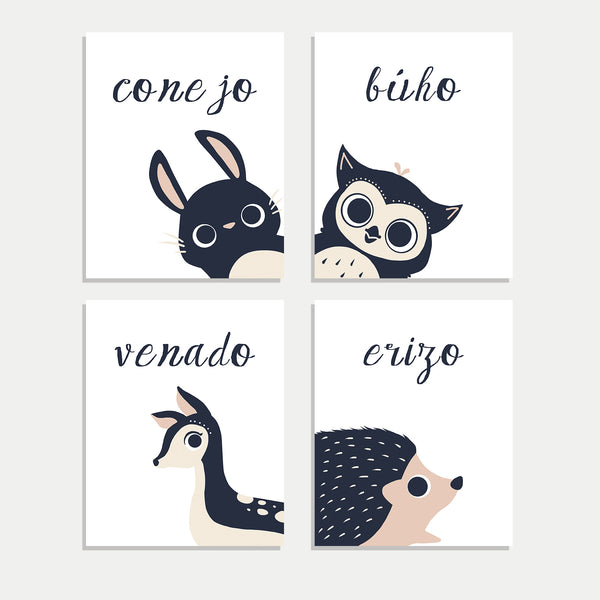 Set of Four Prints Peeking Animals in English, Spanish, French, Italian or Dutch