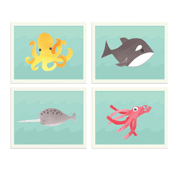 Sea Collection Set of Four 8x10 Children's Wall Art Prints